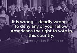 President Johnson signing Voting Rights Bill
